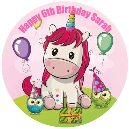 "Baby Unicorn Personalised 8"" Round Edible Cake Topper"