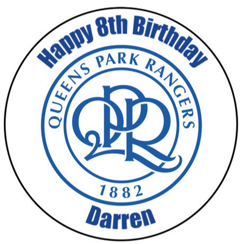 "Queens Park Rangers FC Personalised 8"" Round Edible Cake Topper"