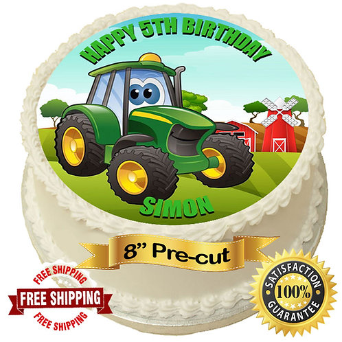 "Green Tractor Personalised 8"" Round Edible Cake Topper"
