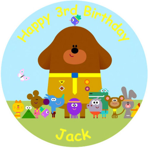 """Hey Duggee Personalised 8"""" Round Edible Cake Topper"""