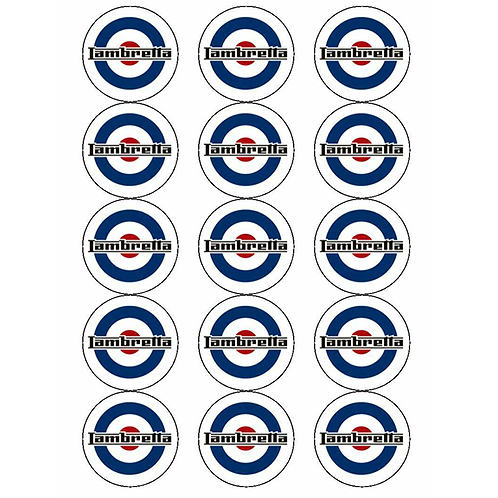 15 x Lambretta Logo Edible Cupcake Toppers