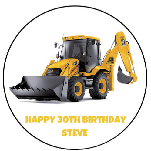 "JCB Digger Personalised 8"" Round Edible Cake Topper"