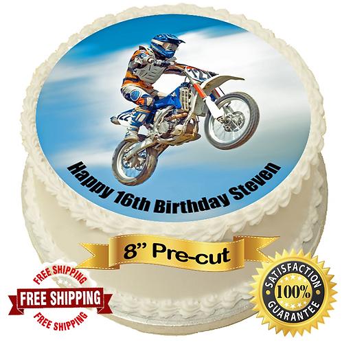 "Moto X Motorbike Personalised 8"" Round Edible Cake Topper"