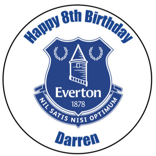 """Everton FC Personalised 8"""" Round Edible Cake Topper"""