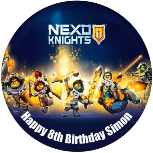 "Nexo Knights Personalised 8"" Round Edible Cake Topper"