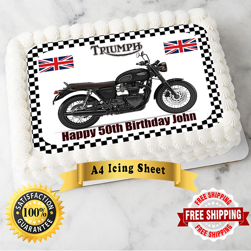 Triumph Motorbike Personalised Edible A4 Sized Cake Topper