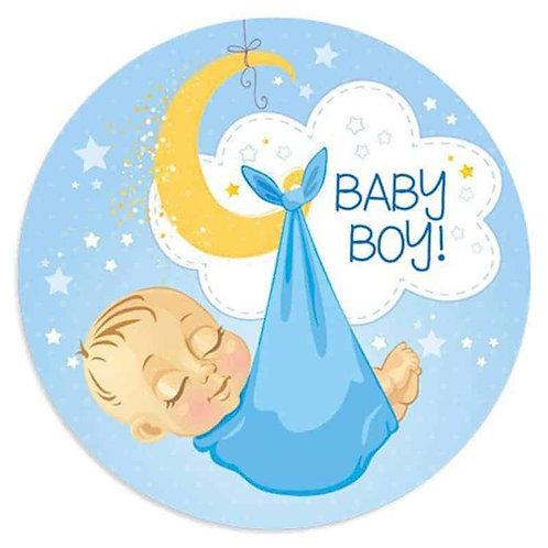 "Baby Boy 8"" Round Edible Cake Topper"