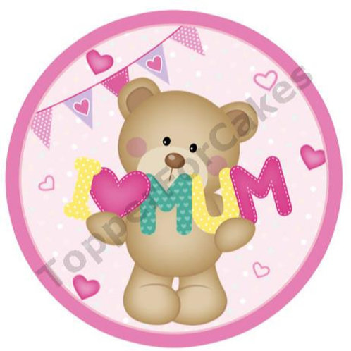 """I Love Mum Mothers Day 8"""" Round Edible Cake Topper"""