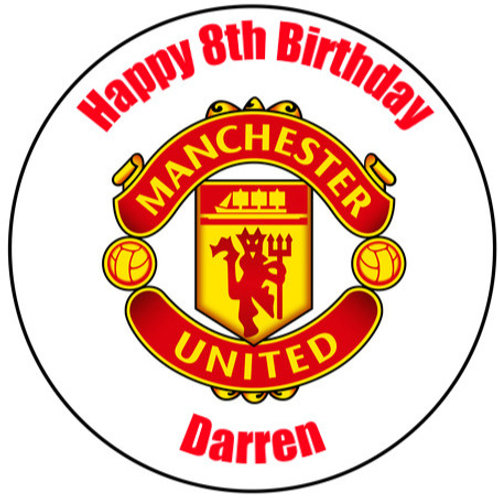 "Manchester United FC Personalised 8"" Round Edible Cake Topper"