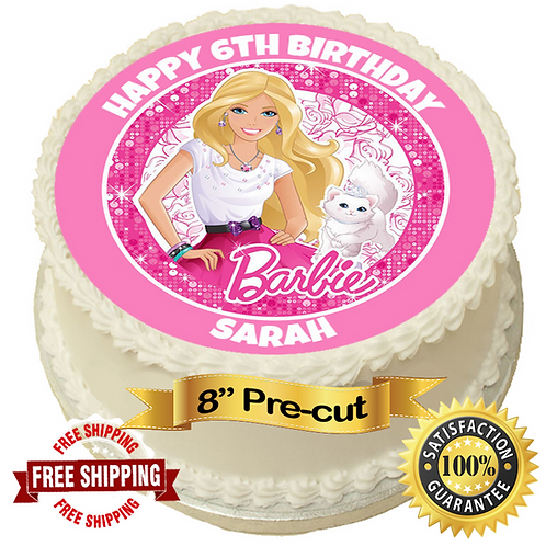 """Barbie Theme Personalised 8"""" Round Edible Cake Topper"""