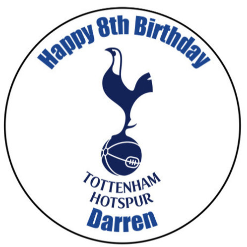 "Tottenham Hotspur FC Personalised 8"" Round Edible Cake Topper"