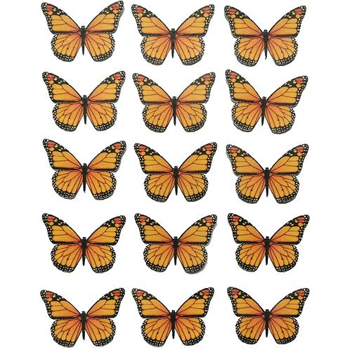 15 x Orange Butterflies Pre-Cut Edible Wafer Cupcake Toppers