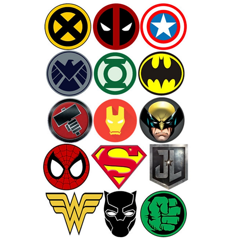 15 x Super Hero Edible Wafer Cupcake Toppers
