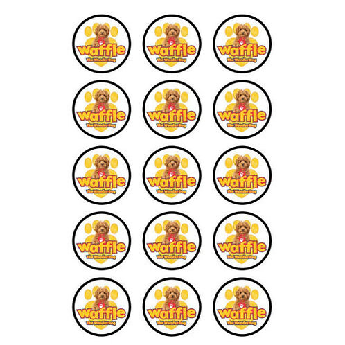 15 x Waffle The Wonder Dog Edible Wafer Cupcake Toppers