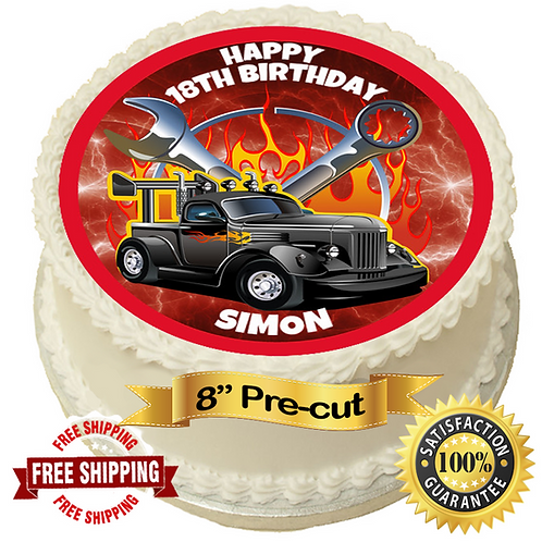 """Hot Rod Mechanic Personalised 8"""" Round Edible Cake Topper"""