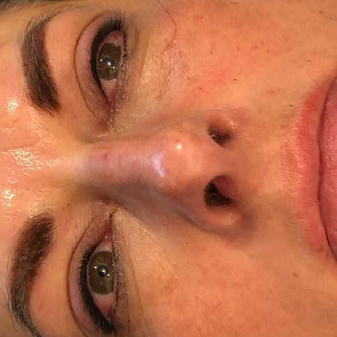 Powder brows and smokey eyeliner