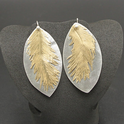 Silver w/brass feather earrings
