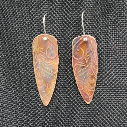 Peacock feathers copper earrings