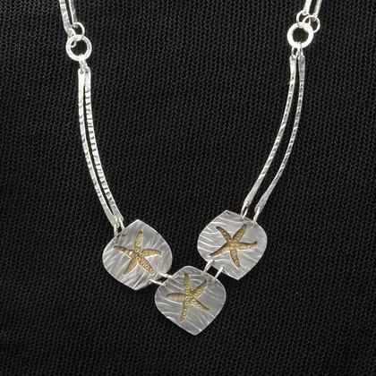 Starfish silver/brass necklace