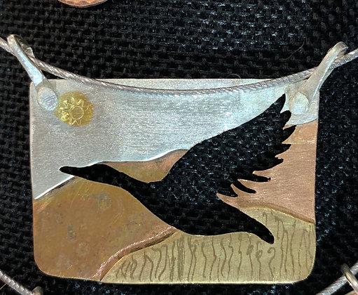 Tri Metal Goose pendant