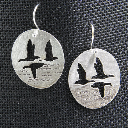 3 geese silver earrings