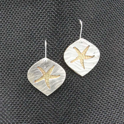 Starfish silver/brass  earrings