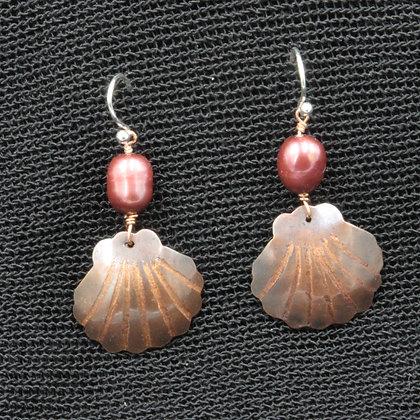 Scallops in copper w/red pearl earrings