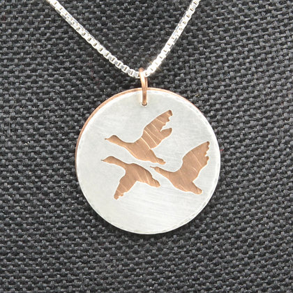 3 geese silver copper pendant