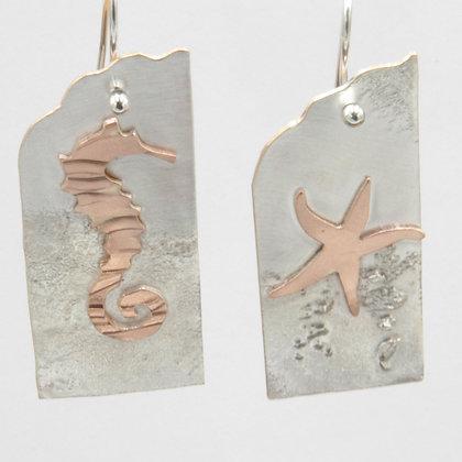 Seahorse star reversible earrings