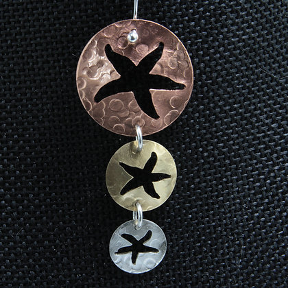 3 Starfish multicolored earrings