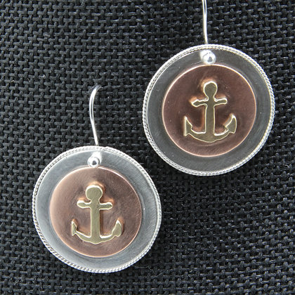 Anchor button earrings