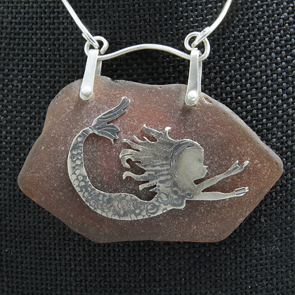 Silver mermaid brown glass necklace
