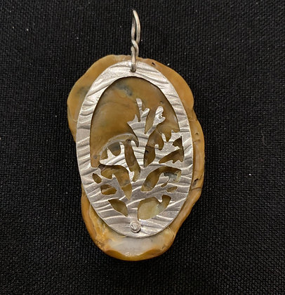 Coral oval/seahorse shell Pendant