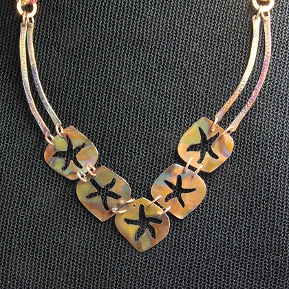 Starfish copper flamed necklace