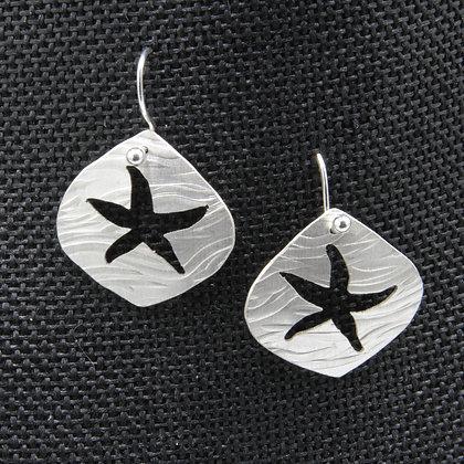 Starfish silver earrings