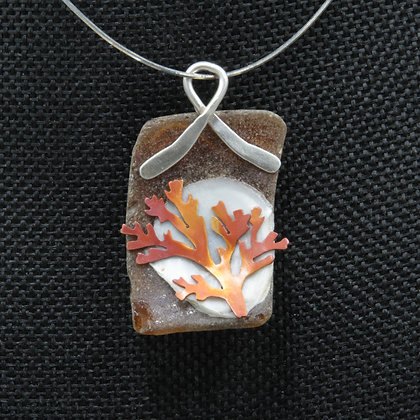 Coral on brown glass square pendant