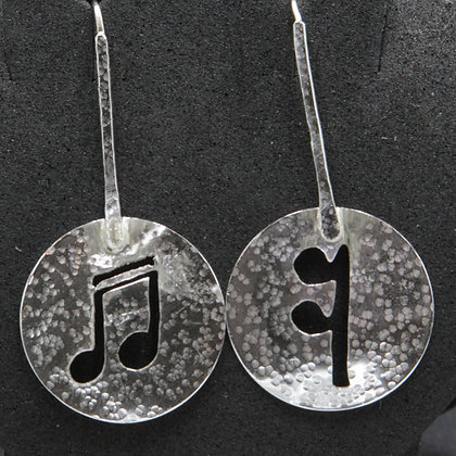 Musical motif silver disc earrings