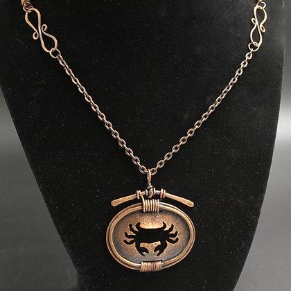 Crab copper necklace