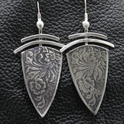 Shield silver earrings