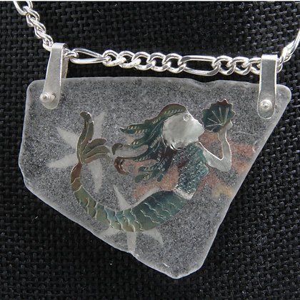 Mermaid on  v glass pendant