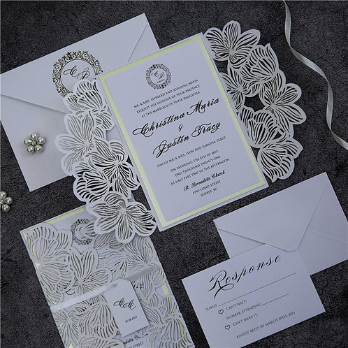 50 Classic White Tropical Themed Wedding Invitation Suite