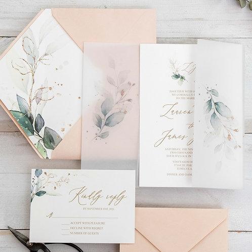 Botanical Monogram Vellum Paper Pocket Invitation