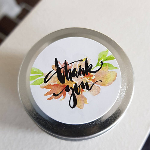 12 - Floral 'Thank you' Design Soy Candle Favours - 2oz