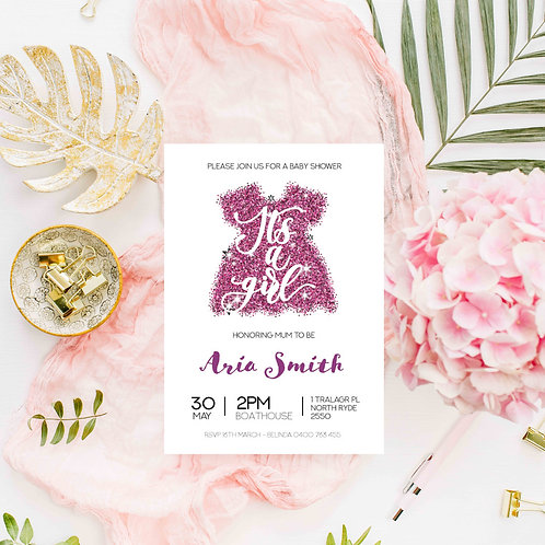 It's a Girl - Baby Shower Invitation - Digital File Only