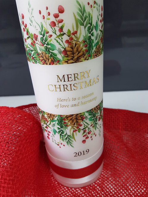 Christmas Pillar Candle, Personalised Christmas Gift, Family Christmas Candle