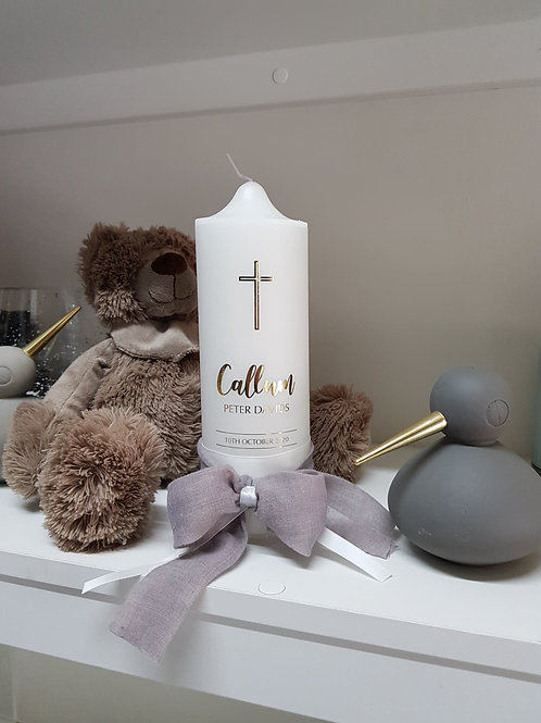 Soft Linen Baptism Candle, Name Day or Christening Candle