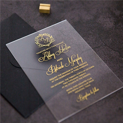 50 x Classic Gold Foil 1mm Acrylic Invitations with Monogram