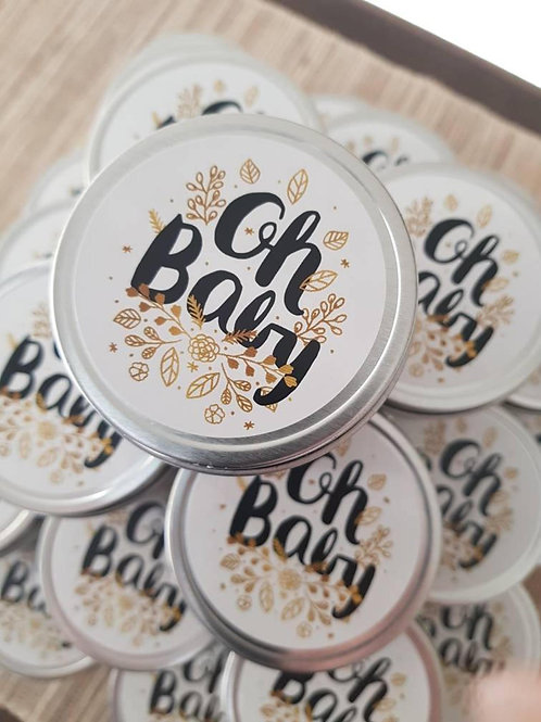 24 - 'Oh Baby' 4oz Handmade Soy Candle Favours