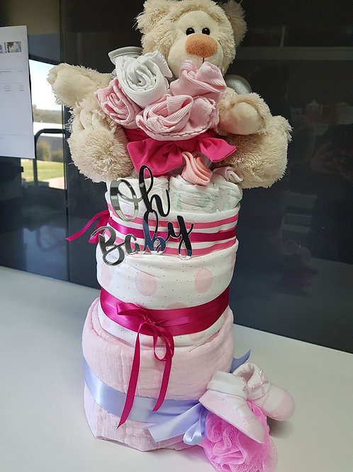 Pretty in Pink Celebrate Baby! Nappy Cake, Baby Shower, It's a girl