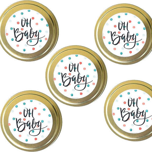 12 - 'Oh Baby' Dotty Baby Shower Handmade Soy Candle Favours
